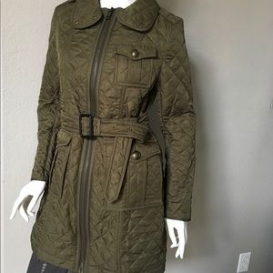 Burberry Army Green Quilted Coat